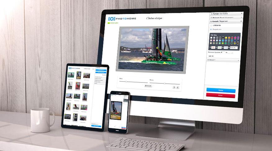 Online design på tre skärmar
